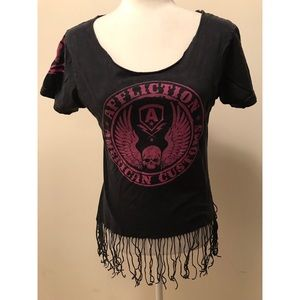 Affliction American Customs Fringe T-Shirt